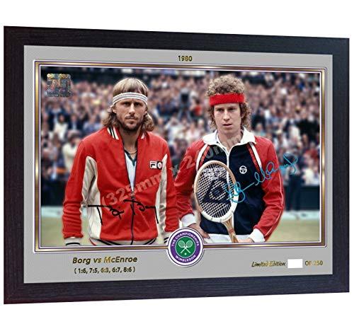 SGH SERVICES Gerahmtes Poster Björn Borg John McEnroe Foto gerahmtes Autogramm Tennis Foto Vordruck Poster gerahmt MDF-Rahmen
