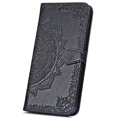 JAWSEU Compatible avec Huawei P8 Lite 2017 Coque Portefeuille PU Étui Cuir à Rabat Magnétique Mode Mandala Fleur Motif Ultra Mince Stand Leather PU Flip Wallet Case,Noir