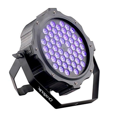 DragonX Professional LED UV Strobe Halloween Black Light Cannon Decor | 54x3W LED Par Can Wash Stage Light | Dimmable Strobe Ultraviolet Blacklight Spotlight for Party and DJ Stage Flood Light