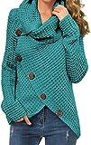 Suéter de punto de dobladillo asimétrico con cuello de tortuga y dobladillo grueso de color sólido para mujer, 09 Aicd Azul, Small