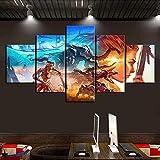 CGHBDOP Modular HD Cuadro sobre Lienzo 5 Piezas Moderno Salón Decoración Impreso Frame Pared Art Poster Pintura150×80Cm Juego Horizon West
