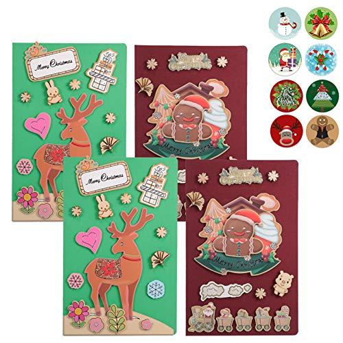 DIY Christmas Cards, 4 Pack Handmade Greeting Card 3D Making Craft Kit for Kids Boys Girls (4 Pack)