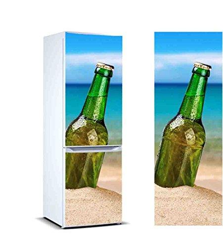 Pegatinas Vinilo para Frigorífico Cerveza en la Arena | Varias Medidas 185x60cm | Adhesivo Resistente y de Fácil Aplicación | Pegatina Adhesiva Decorativa de Diseño Elegante
