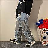 KAL'ANWEI Pantalones Vaqueros para Hombre Pantalones De Mezclilla Azul Negro Azul Relajado Fit Jeans Men Hip Hop Baggy Sollo Flow Masculina Pantalones-Azul_SG