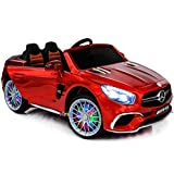 Americas Toys Ride On Toys - Electric 12V Battery Powered Car Remote Control Car - Licensed Ride On Car Open Trunk Leather Seat Music LED Wheels MP4 Screen Compatible with Mercedes-Benz Red