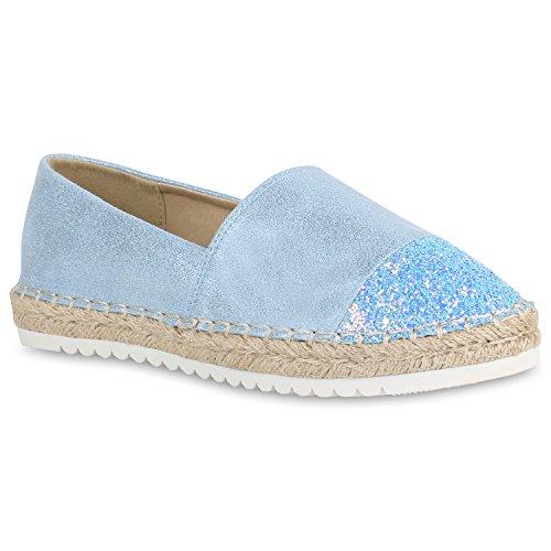 stiefelparadies Damen Espadrilles Glitzer Slippers Plateau Schuhe Metallic Flats 154879 Blau Berkley 38 Flandell