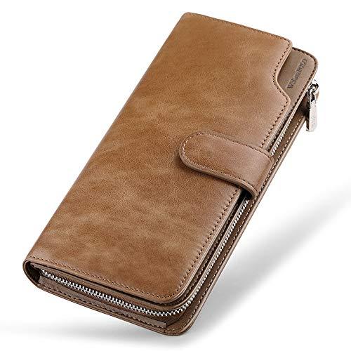 Heren Luxe Zacht Lederen Ontwerp Portemonnee ID Raam, Credit Card Slot En Coin Pocket