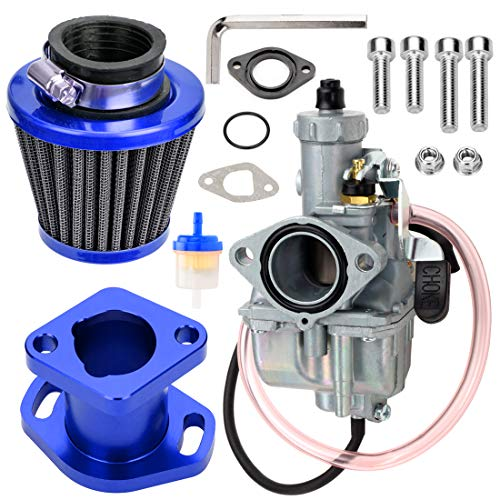 FVRITO VM22 Carburetor Carb Upgraded Performance Intake Mainfold Adapt Air Filter Kit for Predator 212cc 6.5hp GX200 196CC BK200 CT200U Baja MB165 MB200 Heat Mini Baja Warrior Mini Bike Go Kart Blue