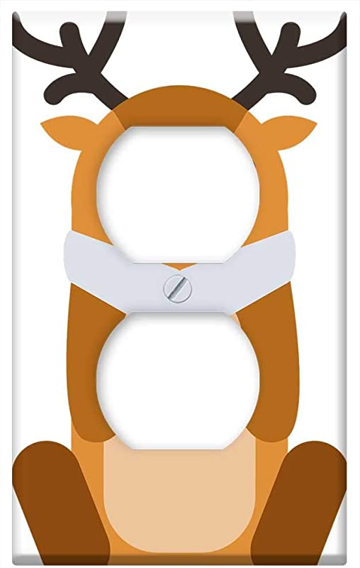 Switch Plate Outlet Cover Baby Moose Sitting Antlers Animal Cute Cartoon