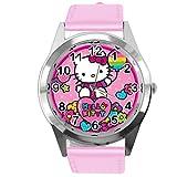 Reloj redondo de piel auténtica para fans de Kitty