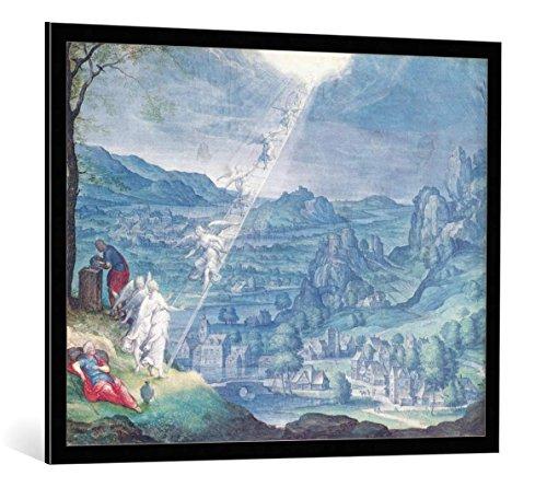kunst für alle Bild mit Bilder-Rahmen: Johann Wilhelm Baur Jacob s Dream - dekorativer Kunstdruck, hochwertig gerahmt, 100x80 cm, Schwarz/Kante grau