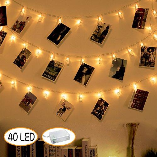40 LED-Fotoclips Lichterketten Batteriebetriebene Lichterketten zum Aufhängen von Bilderkarten Hochzeit Party Schlafsaal Raumdekoration Warmweiß