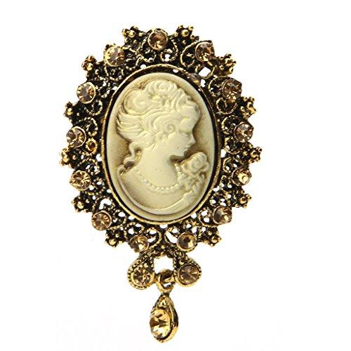 YIFEIJIAO, Lady Vintage Cameo Estilo Victoriano Fiesta de Bodas Mujeres Colgante Broche Pin-Oro Viejo