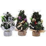 Tomaibaby 3 Piezas Mini Árbol de Navidad Árbol de Navidad de Mesa Pequeño con Adornos de Escritorio de Bolas Ornamentales para Decoraciones Navideñas (Plateado Morado Dorado)