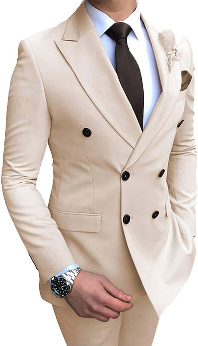 Fitty Lell Men's Slim Fit 2 Piece Suit Double Breasted Tuxedo Business Wedding Casual Suits