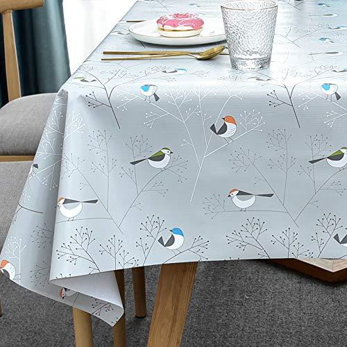 Plenmor Tischdecke Plastik für Rechteckige Tische Abwischbare PVC Tischdecke für Esstisch Ölbeständig Wasserdicht Fleckenbeständig Schimmelbeständig (137x185 cm, Birds-1)