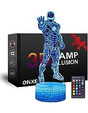 Lampka nocna LED Superbohero 3D, ONXE złudzenie optyczne 16 kolorów ściemniana zasilana przez USB sterowanie dotykowe z pękniętą podstawą + pilot dla chłopców dziewcząt dzieci prezenty (Iron Man)