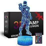 ONXE Luz nocturna 3D de Superhéroe, lámpara de ilusión óptica de 16 colores regulable, control táctil alimentado por USB con base de grieta+mando a distancia para niños y niñas (Iron Man)