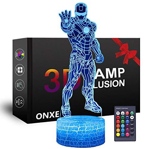 Luce notturna a LED 3D da supereroe, lampada da illusione ottica ONXE 16 colori dimmerabili USB touch control alimentato con base crepa + telecomando per ragazzi ragazze regali per bambini (Iron Man)