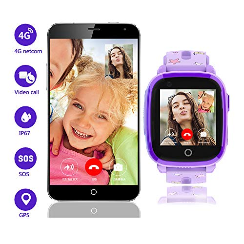 4G Kids Smart Watch for Boys Girls ,GPS LBS Tracker Smartwatch,IP67 Waterproof HD Touch Screen Watch Phone with Video Call Camera Alarm SOS Sport Record for Children Teen Students Age 3-12(DF33z-Purp)