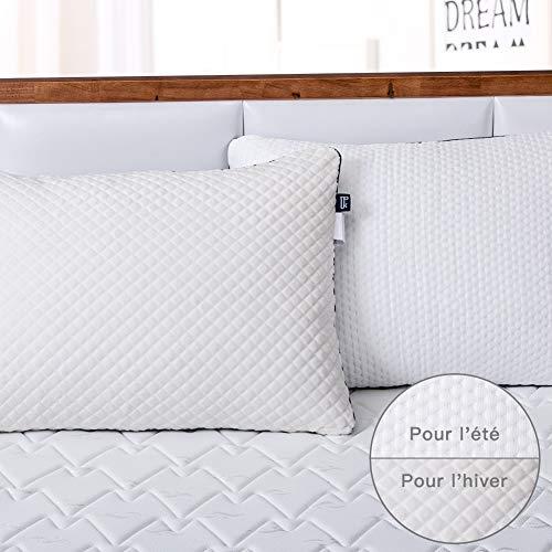 BedStory Oreillers 50x70 Lot de 2 avec Taie de Double Face Eté/Hiver avec Zip, Oreillers Ferme Medium avec Garnissage 10% 7D et 90% 3D Fibre Polyester, Oreillers pour Hotêl Lit Canapé