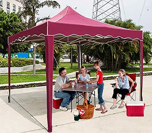BBZZ Gazebo da giardino resistente 2 x 2 m, pieghevole impermeabile Pop Up Gazebo – tenda foranea in metallo – elegante bordi ondulati, rosso