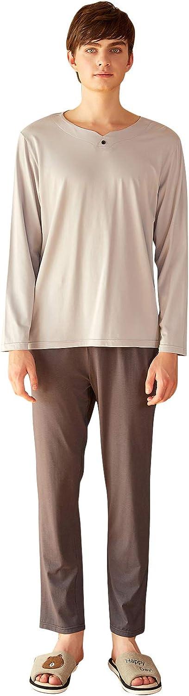 YAOMEI Mens Pyjamas Set Long, 2020 Mens Long Sleeves Nighties Couples PJ Set Sleepwear Nightwear