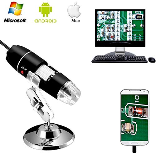 40 to 1000x Magnification Endoscope, 8 LED USB 2.0 Digital Microscope, Mini Camera with OTG Adapter and Metal Stand, Compatible with Mac Window 7 8 10 Android Linux