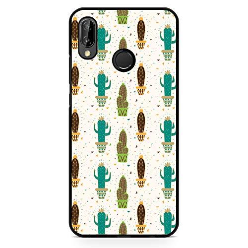 Premium Handyhülle Kaktus aus Silikon | Kakteen Pflanze Stachel Kaktusgewächs Muster Peyote, Hüllendesign:Design 4 | Silikon Schwarz, Kompatibel mit Handy:Huawei P20 Lite