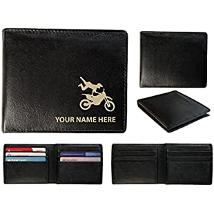 Personalised Mens Leather Wallet - Laser Marked with Your Name & Motorcross Design (Toscana):Viralbuzz