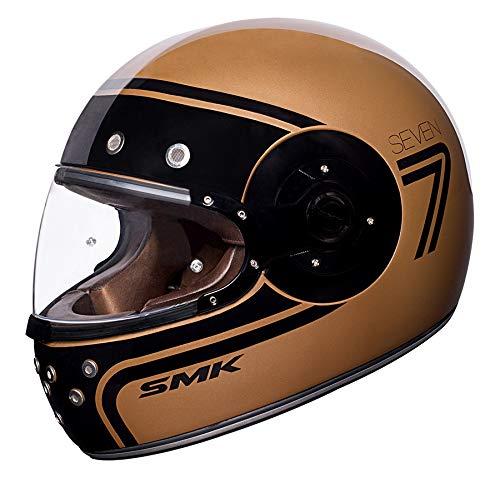 SMK - Casco Integral Retro Café Racer ELDORADO SEVEN Color Oro (L (59/60 cm.))