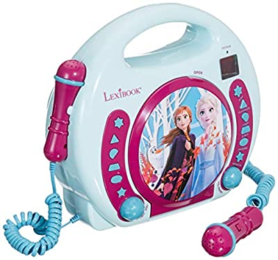 LEXiBOOK Disney Frozen Anna and Elsa CD Player for Kids with 2 Toy Microphones, Headphones Jack, with Batteries, Blue, RCDK100FZ from LEXIBOOK