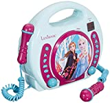 Lexibook Disney Frozen Anna and Elsa CD player for kids with 2 toy microphones, headphones jack, with batteries, blue, RCDK100FZ