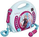 Lexibook Disney Frozen La Reine des Neiges Elsa Lecteur CD pour enfant avec 2 microphones jouets, prise écouteurs, à piles, Bleu/Blanc, RCDK100FZ