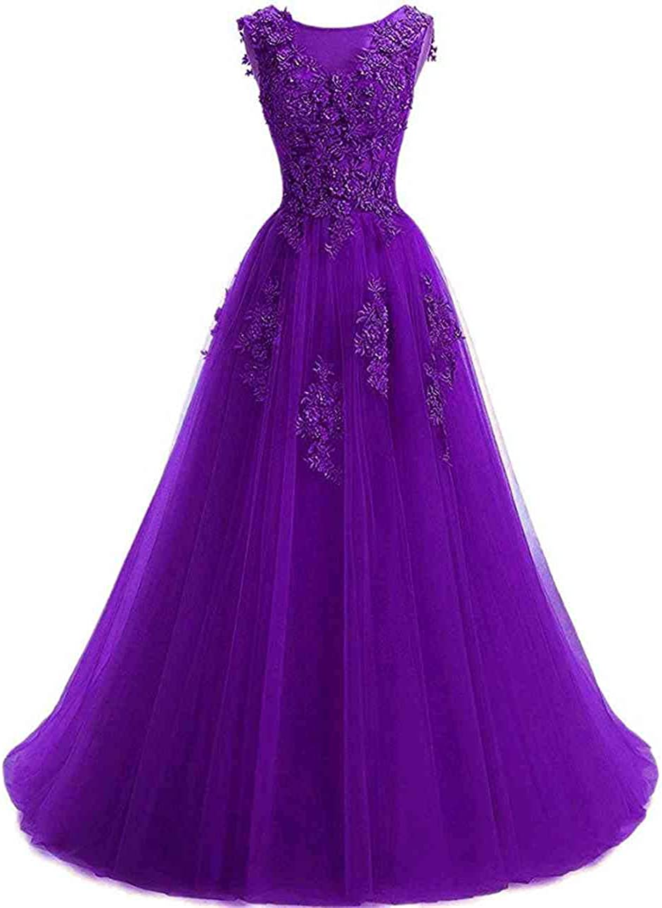 Huifany Prom Dresses for Women Floral Lace Applique Scoop Formal Evening Party Dress Long Tulle Gown