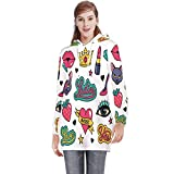 Fashion Patches Collection.- - USA,Women's Nursing Hoodie Breastfeeding Maternity Tops Tattoo L