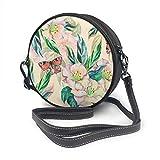 Bandolera de piel con diseño de flores tropicales con hojas y mariposas, estilo vintage, con correa ajustable para el hombro para mujer