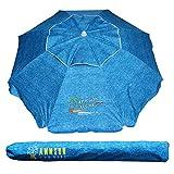 AMMSUN 6.5 ft Outdoor Patio Beach Umbrella Sun Shelter with Tilt Air Vent Carry Bag Lake Blue