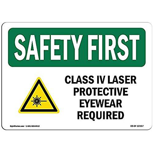 Ditooms Safety First Sign Class IV Laser Schutzbrille mit Symbol Aluminium starrer Kunststoff oder Vinyl Aufkleber schützen Sie Ihr Geschäft Arbeitsort Warehouse 30,5 x 45,7 cm