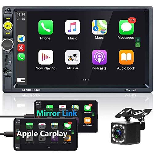 Hikity Carplay Autoradio 2 Din Bluetooth Stereo Auto 7 Pollici Touch Screen Radio Ricevitore FM Mirrorlink SWC + Microfono + Telecamera Posteriore