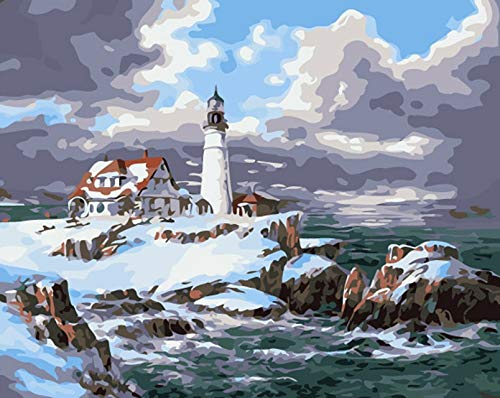 Pintura por número faro paisaje pared arte imagen por número mar dibujo lienzo acrílico pintado a mano decoración del hogar A11 40x50cm
