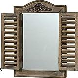 Miroir de fenêtre rustique avec volets, bois durable, env. 45,7 cm de haut, gris vieilli avec décoration en métal de style vintage