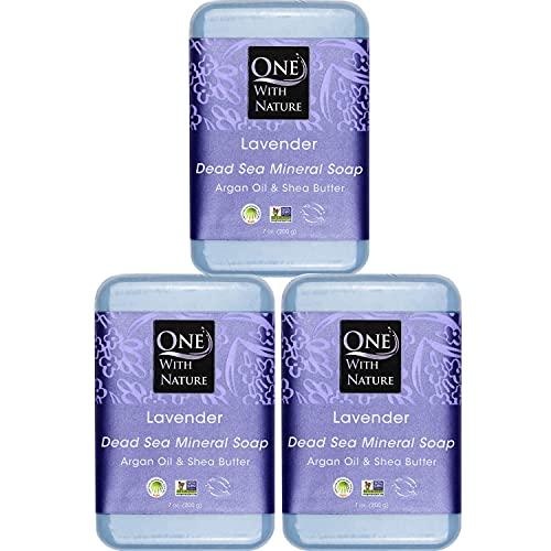 Dead SEA Salt Lavender 7 oz Soap 3 PK. Dead Sea Salt Includes Sulfur, Magnesium, 21 Essential Minerals. Shea Butter, Argan Oil. for Acne, Eczema, Psoriasis, All Skin Types, Problem Skin. 100% Natural.