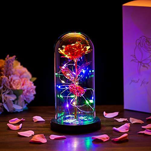 Glasseam La Bella Y La Bestia Rose En Cúpula De Cristal Luces LED Crystal Rose Flowers Regalo para Cumpleaños Aniversario San Valentín Boda Novia Esposa Mujeres