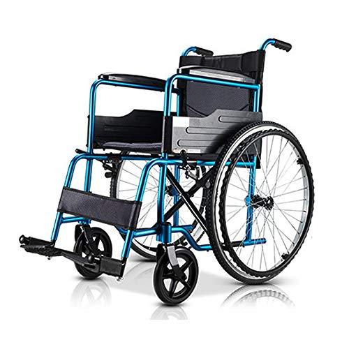 YYXXL Leichte Transport Rollstuhl Tragbarer Rollstuhl Swing-Away Fußrasten Einstellbare Sicherheit Kippschutz for Personen mit eingeschränkter Mobilität (Color : Blue)