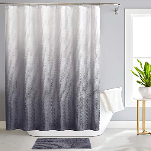REEPLE Ombre Textured Shower Curtain Set with Rugs for Bathroom 72 x 72 Inch Waterproof Fabric Shower Curtain with 12 Hooks Grey
