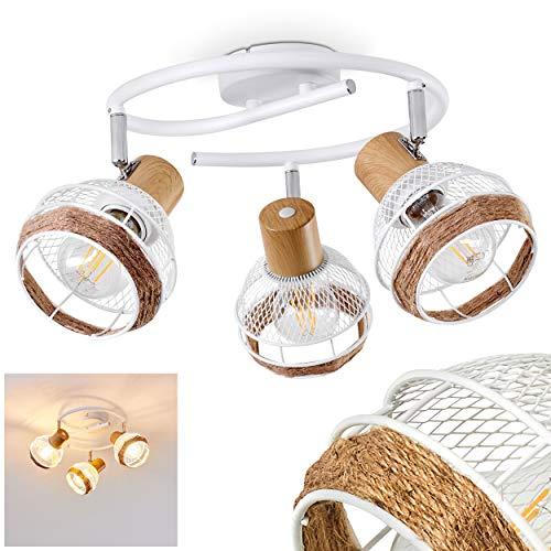 Plafonnier Bariloche en bois, raffia & métal blanc, 3 spots de plafond pivotants créant un effet lumineux au plafond par les abat-jours grillagés, pour 3 ampoules E27 max. 60 Watt, compatible LED