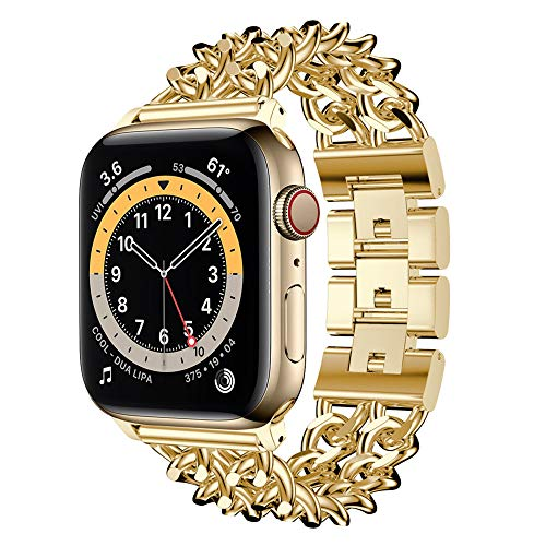 CHENPENG Strap Compatible with Apple Watch 38Mm 42Mm, Stainless Steel Wristband Fashion Replacement Metal Bracelet,gold,38mm