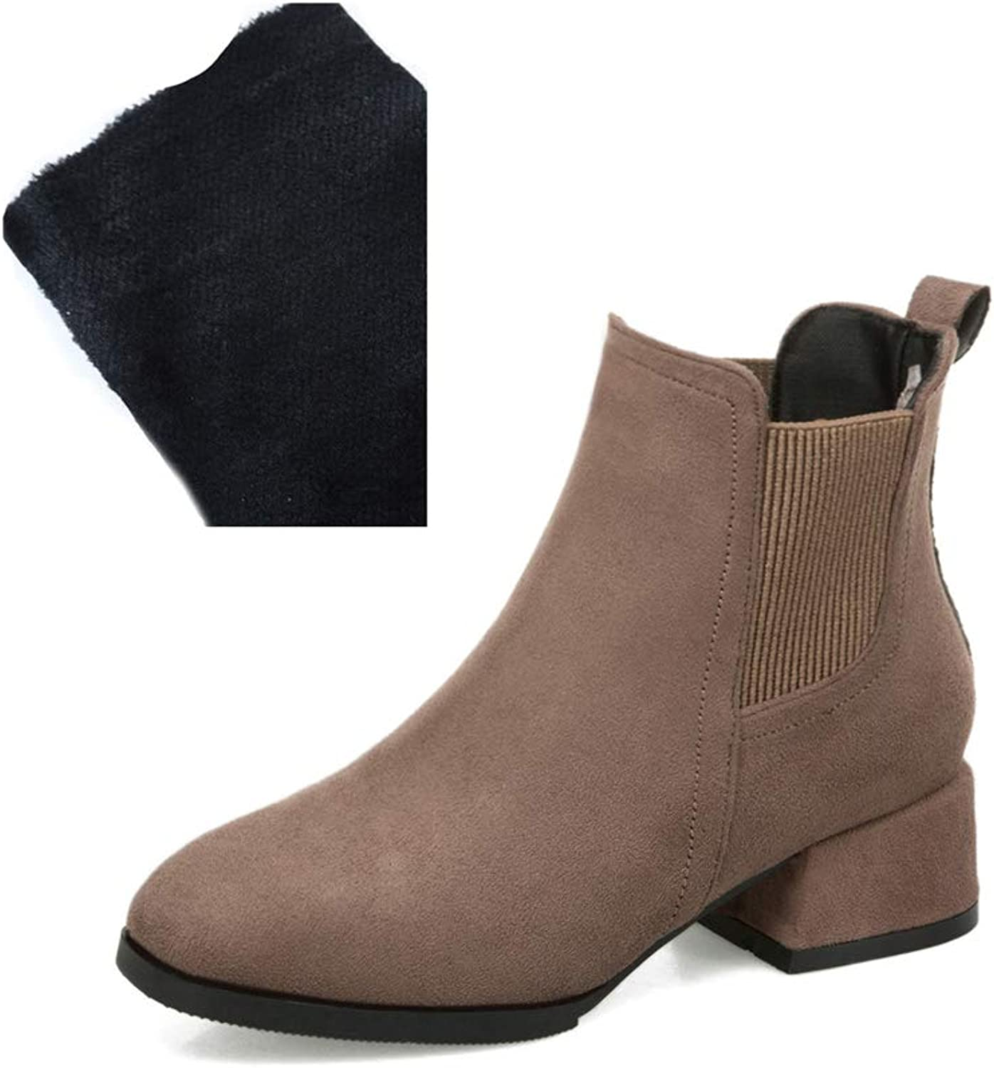 Women Ladies Chelsea Ankle Boots Chunky Middle Heel Booties Winter Slip On Boots