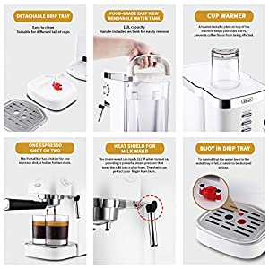 Espresso Machines 15 Bar Cappuccino Machine with Milk Frother for Espresso, Latte and Mocha, 1.5L Removable Water Tank and Double Temperature Control System, Classial, Sliver, 1050W (Brass)